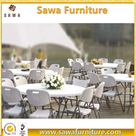 Round/Rectangle Plastic HDPE Folding Table Furniture Sale pictures & photos