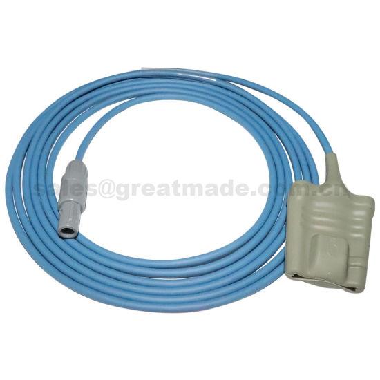 Mindray PM9000 Adult silicone soft tip SpO2 probe, 6PIN REDEL Male(dual, 40 degree), L=3M