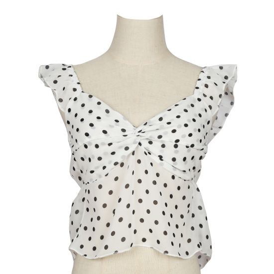 Customized Polka DOT Ladies Fashion Design Polyester Girl's Clothing Tops Blouses Vest