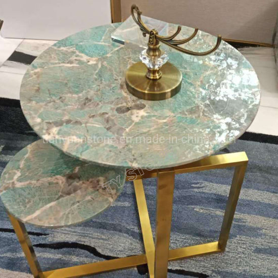 Green Quartzite Round Coffee Table Top For Restaurant Furniture