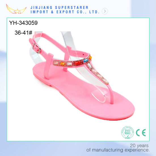 a755d72be009 PVC Flat Pink Color Women Sandals Fashion Style with Rhinestone Upper