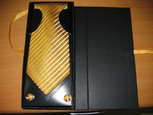 Gold Colour Men's Woven Silk Neckties with Gift Box