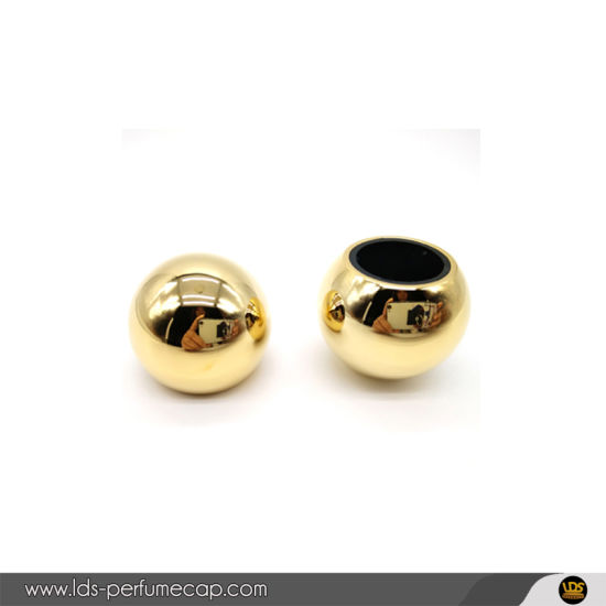 Shiny Gold Black Standard Metal Ball Shape Zamac Cap for Perfume Packaging