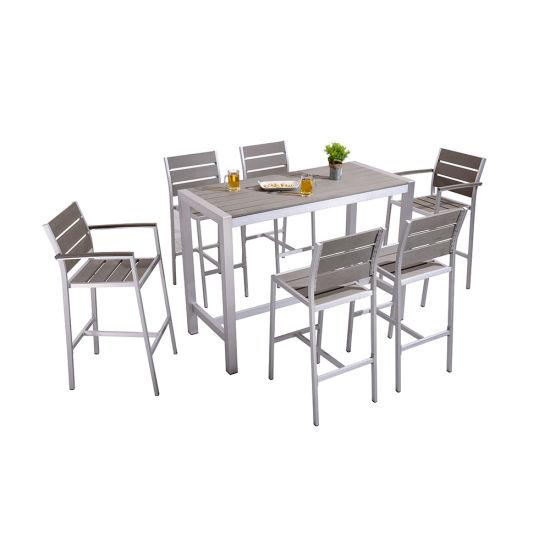 Outdoor Plastic Wood Leisure Table Furniture Garden Bar Set