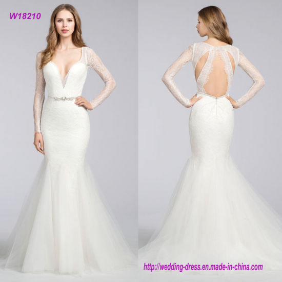 cd2c4e4c1951 China Chantilly Lace Modified A-Line Wedding Dress with Curved V ...