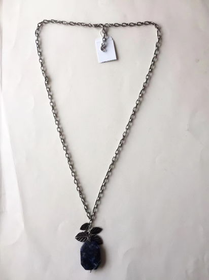 Fashion Necklace Chain Silver Retro Style with Leaves and Rhinestone Pendant 42+6.5cm