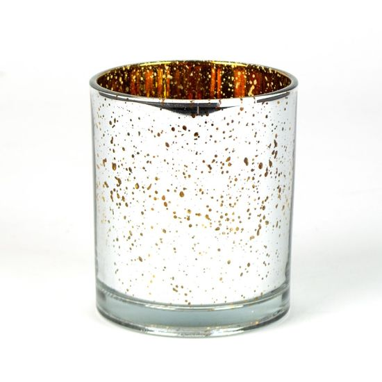 China Gold And Silver Striped Glass Votive Candle Holder China Glass Candle Jar And Candle Jar Price