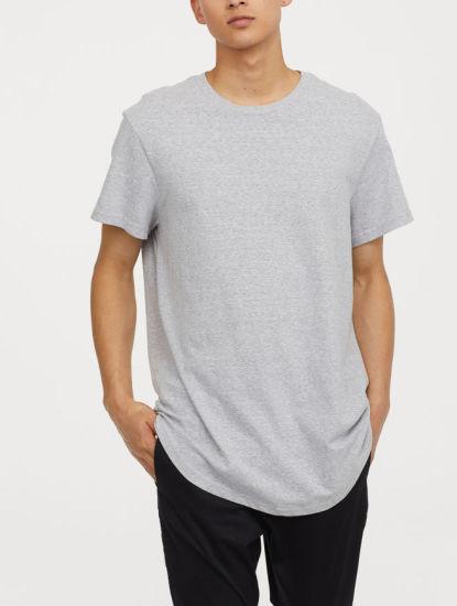 OEM Round Neck Longline Split Round Hem Men's Gym Sports T Shirt