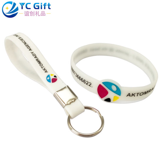 Factory Custom Company Promotional Products Silicone Silicon Key Chain Printing Logo Glow in The Dark Rubber Band Energy Bracelet for Souvenir Promotion Item