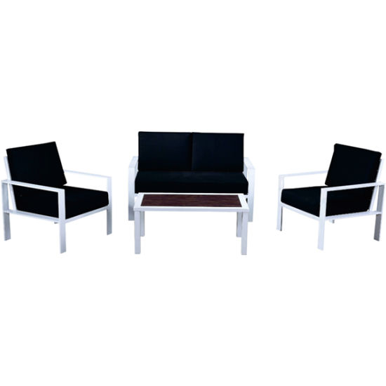 Black Eco-Friendly Coffee Shop Aluminum Alloy Sofa Chair Outdoor Garden Furniture