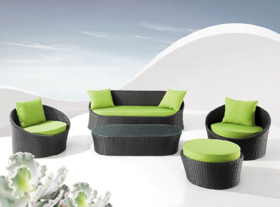 Comfortable Sofa Set Green Cushion and Black Rattan pictures & photos