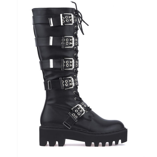 Winter Women Boots Belts Buckles Straps Fashion Ladies Long Boots Girls Shoes