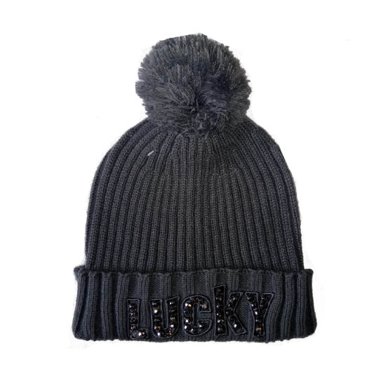 Lady Winter Warm Fashion Bobble Hat Cap with Embroidery Rhinestones