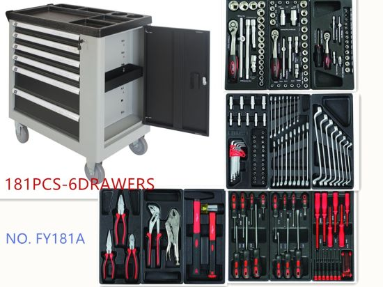 6 Drawers Professional Trolley Tool Set with Plastic Tray Packing pictures & photos