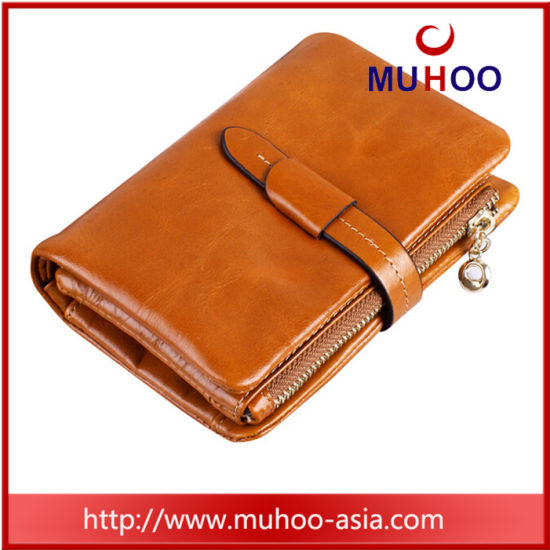Fashion Genuine Leather Ladies Wallets/Purse with Coin Pocket