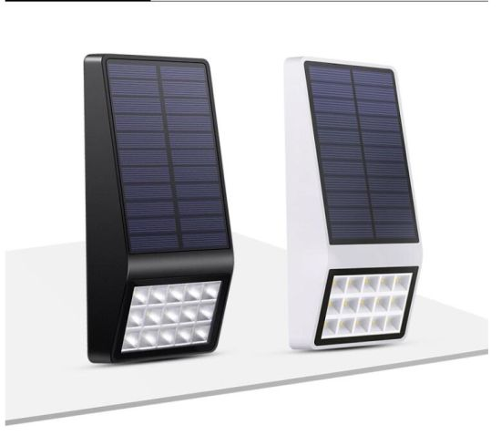 Patent Design Black White Shell Solar Powered 16 Led Outdoor Wall Garden Light