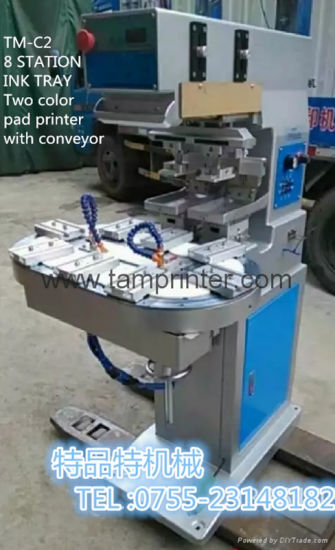 China Two Color Curved Surface Printing Carousel Pad Printer