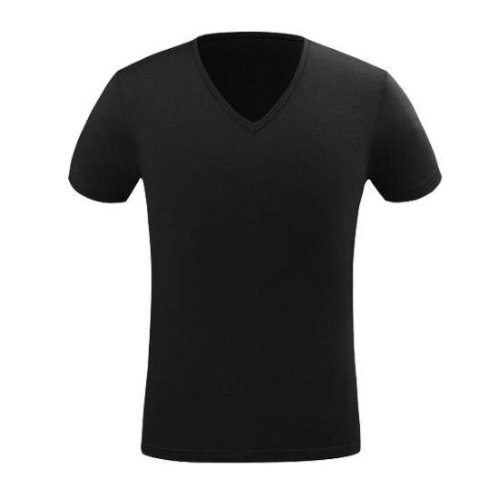 Customize Logo High Quality 100%Cotton V Neck Men T-Shirt