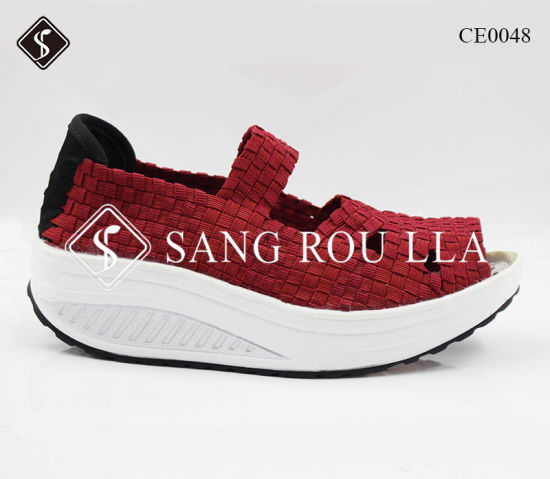 Women Elastic Woven Shoes Handmade Weave Shoes with Health Outsole pictures & photos