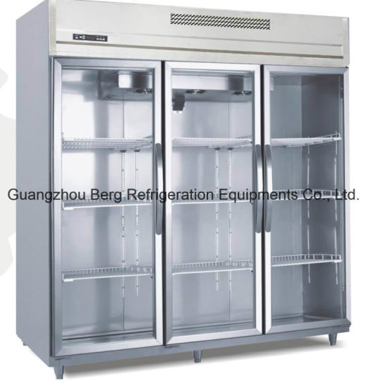 1500L R134A Stainless Steel Commercial Glass Door Refrigerator With Ce