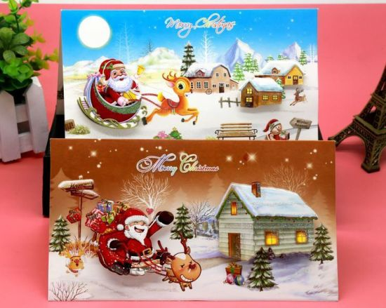 Christmas Gift Cheap Stereoscopic Pattern Greeting Christmas Card pictures & photos