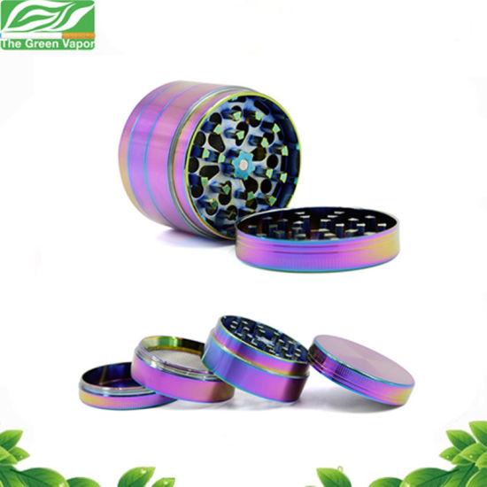 Rainbow Dazzle Color 4 Layer 40mm Metal Zinc Alloy Tobacco Grinder Crusher with Pollen Catcher pictures & photos