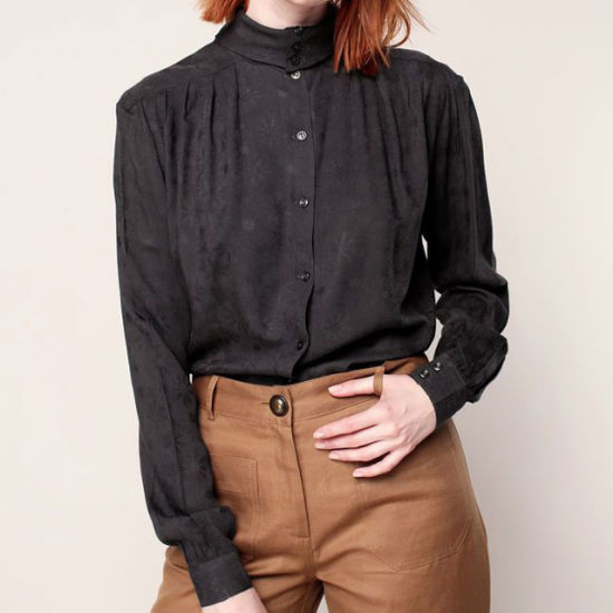 High Quality Lace Flower Woman's Blouse Special Design Neck Collar Chiffon Blouse