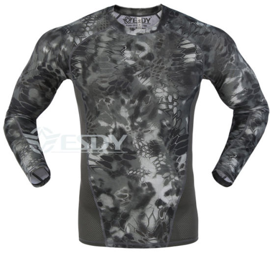 3 Colors Esdy Outdoor Tactical Camouflage Tight Speed Drying Shirts pictures & photos