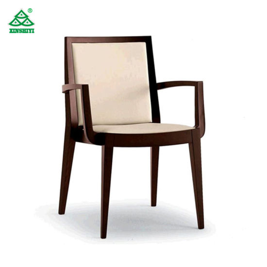 Accept Color Upholstered Fabric Hotel Room Chairs With Arm / Solid Wood  Frame And Legs
