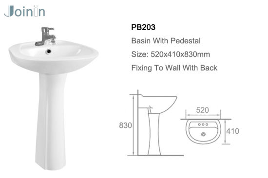 Sanitary Ware Bathroom Ceramic Wash Hand Pedestal Basin From Chaozhou Factory (PB203) pictures & photos