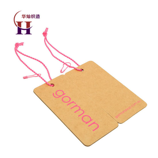Wholesale Custom Brand Name Logo Design Silk Screen Printed Garment Kraft Hangtags for Shoes pictures & photos