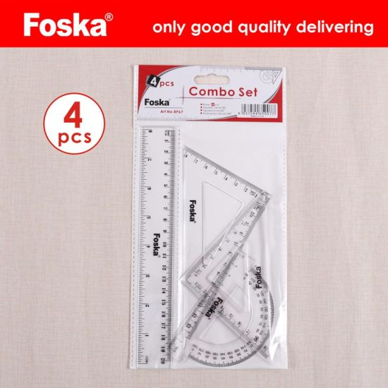 Foska Stationery Office 4 Pieces Plastic School Ruler Set Geometry Set