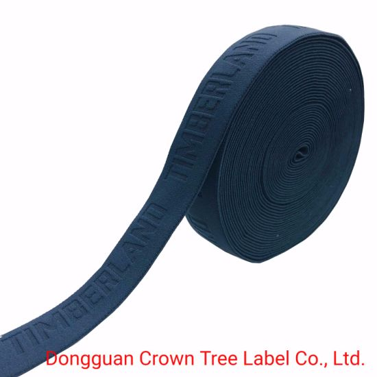Timberland Black Embossed Letter Elastic Ribbon with High Quality Clothing Webbing