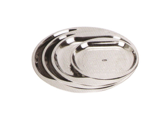 Stainless Steel Kitchenware Oval Tray in Round Design with Decorative Pattern Sp021 pictures & photos