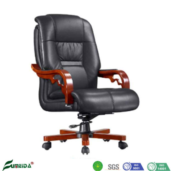 ISO19001 Manufacturer Luxury Solid Wooden Leather Office Conference Meeting Chairs Visitor Boss Executive Chairs