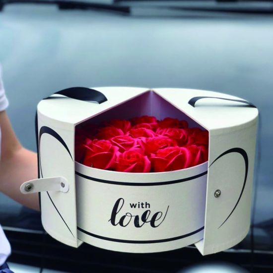 China Round Rose Flower Gift Box Side Open Luxury Cute Wedding