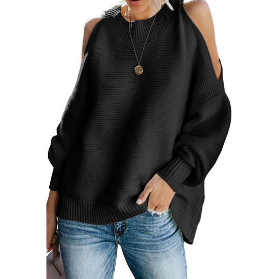 High Quality Casual Women Black Cold Shoulder Pullover Sweater