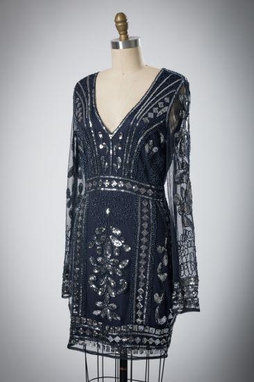 Casual Sequins Waist Long Sleeved Women's Dress