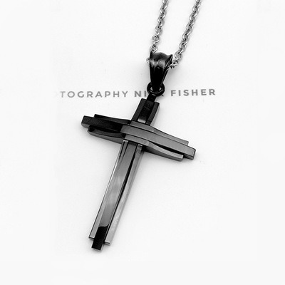 Trendy Men/'s Unisex Gold Color Stainless Steel Cross Pendant Necklace Chain Gift