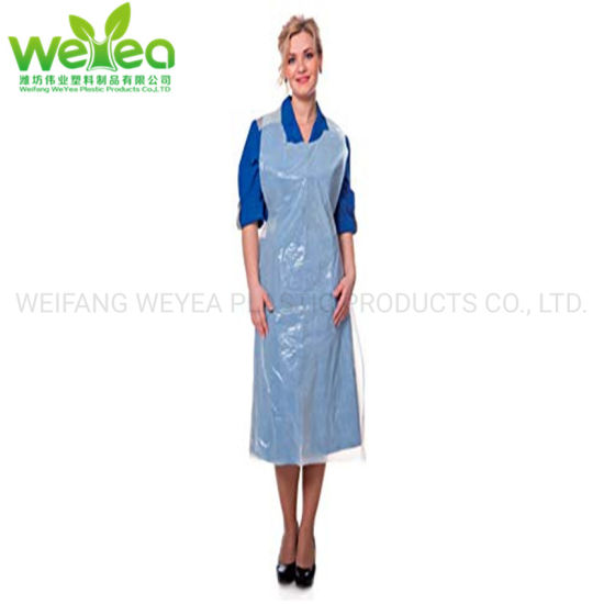 "WHITE POLYTHENE PLASTIC 28/"" x 46/"" FLATPACK 100 APRONS DISPOSABLE BLUE"