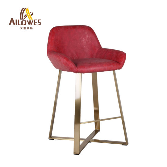 Customize Brushed Stainless Steel Bar Furniture PU Leather Seat Bar Chair High Stool pictures & photos