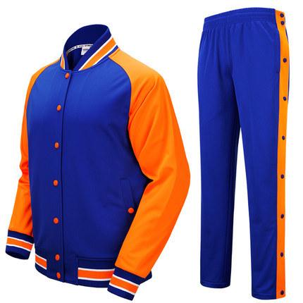 Button up Cotton Plain Men Baseball Jackets with Pants, Sportswear Suit