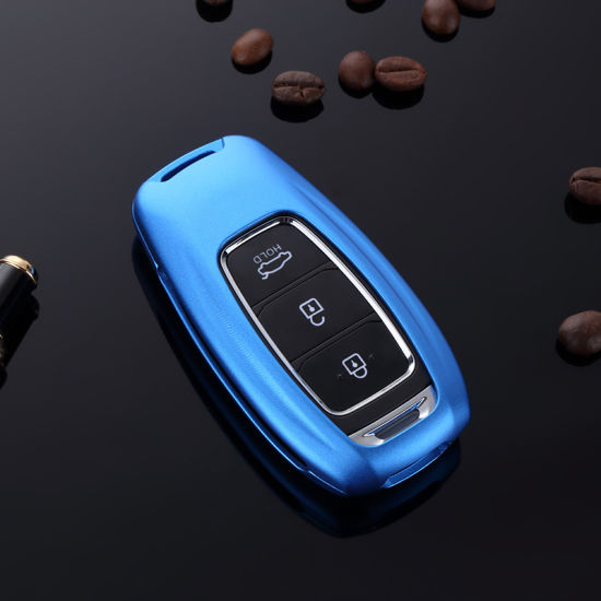 Car Key Case Shell Cover with Key Chain for Hyundai Motor Premium Aluminum Metal Remote Key Case