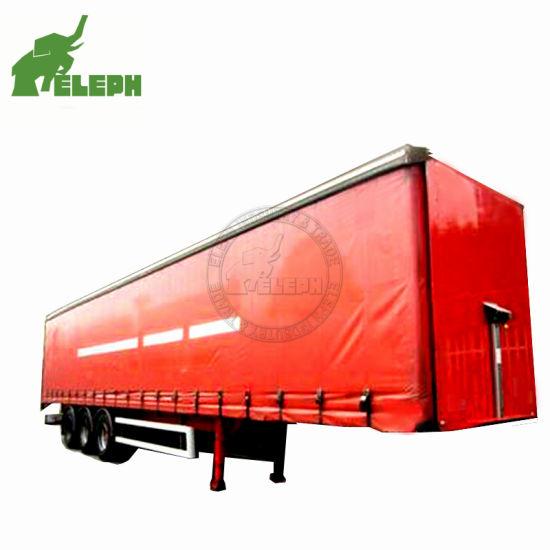 3 Axle Box Body Truck Towing Cargo PVC Tarpaulin Curtain Van Semi Trailer