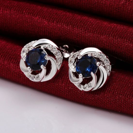 Blue Zicron Fashion Silver Plated Girls Jewelry pictures & photos