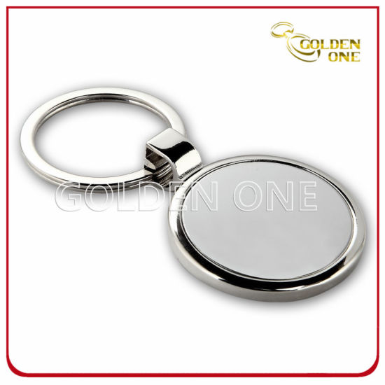Promotional Shiny Nickel Plated Round Shape Metal Keyring