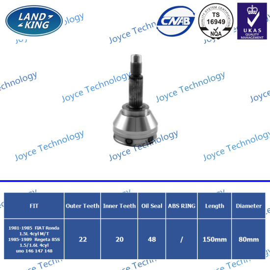OEM Factory Auto Spare Parts Outer CV Joint Fi-001 for FIAT Ronda/Regata 85s/Uno 146 147 148