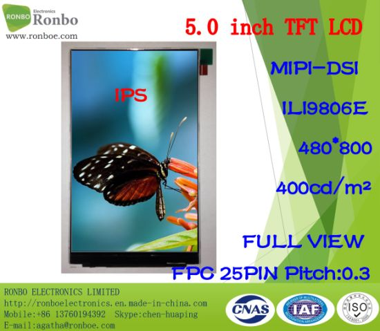 "5.0"" IPS 480*800 Mipi 25pin High Luminance 400CD/M2 TFT LCD Screen pictures & photos"