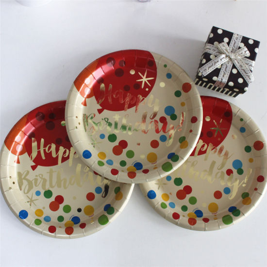Foiling Gold Paper Plate 7\  9\  for Birthday Party & China Foiling Gold Paper Plate 7\