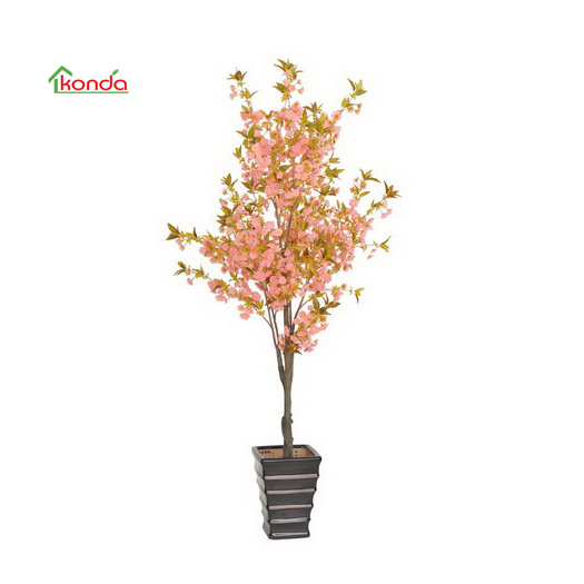 Furniture Imitation Plastic Potted Plant Artificial Sakura Bean Flower Bonsai Design Ornament
